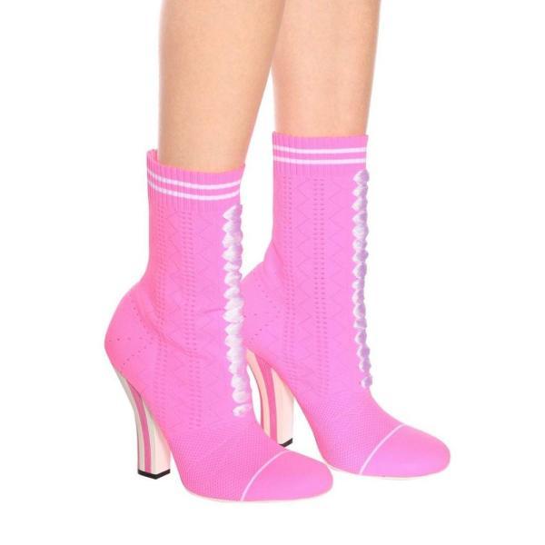 フェンディ レディース ブーツ シューズ・靴 Stretch-knit ankle boots Rosa Fluor/Bianco
