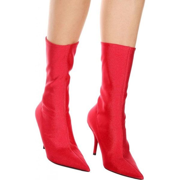 バレンシアガ レディース ブーツ シューズ・靴 Knife stretch-jersey ankle boots Rouge