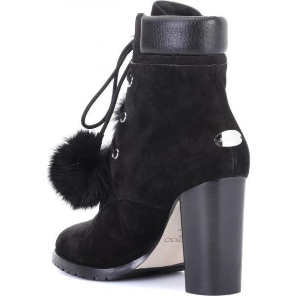 ジミー チュウ レディース ブーツ シューズ・靴 Elba 95 fur-lined suede boots Black