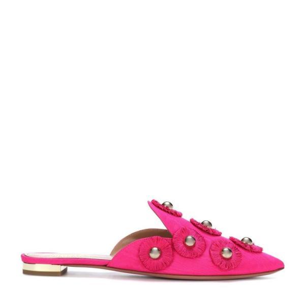 アクアズーラ Aquazzura レディース スリッポン・フラット シューズ・靴 Sunflower embellished slip-on mules Azalea Pink