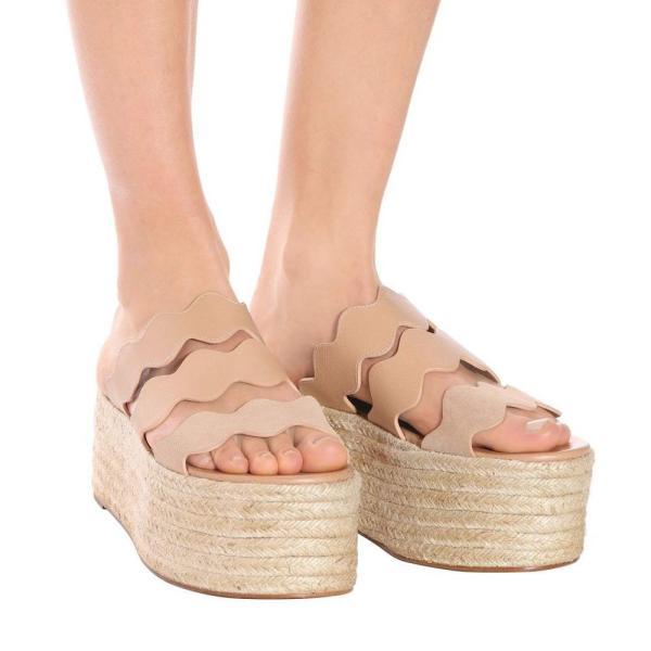 クロエ レディース サンダル・ミュール シューズ・靴 Lauren leather platform sandals Maple Pink