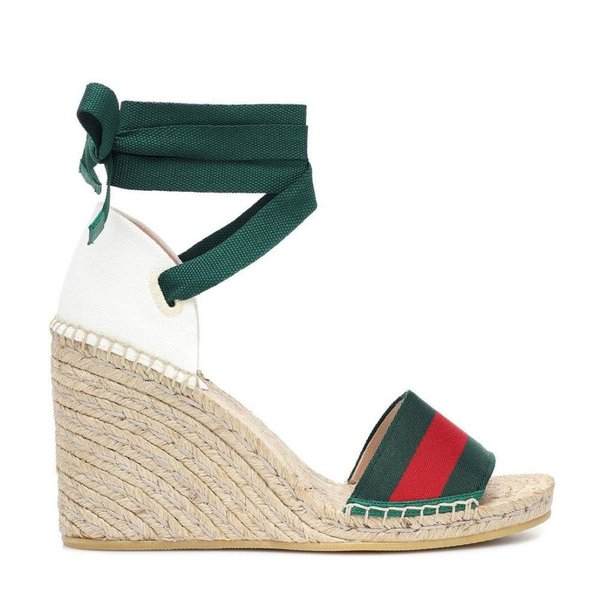 グッチ Gucci レディース エスパドリーユ シューズ・靴 Sylvie Web platform espadrille Vrv/Mi.White/Eme/Eme