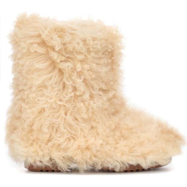 イヴ サンローラン Saint Laurent レディース ブーツ シューズ・靴 Shearling ankle boots Cream