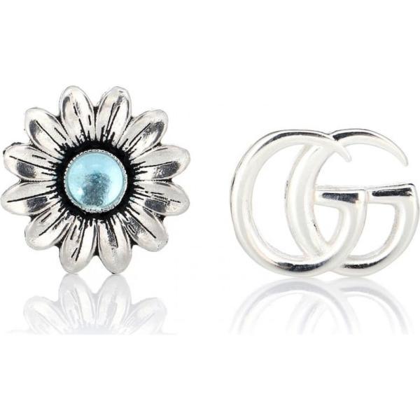グッチ Gucci レディース イヤリング・ピアス スタッドピアス ジュエリー・アクセサリー Double G flower sterling silver and topaz stud earrings