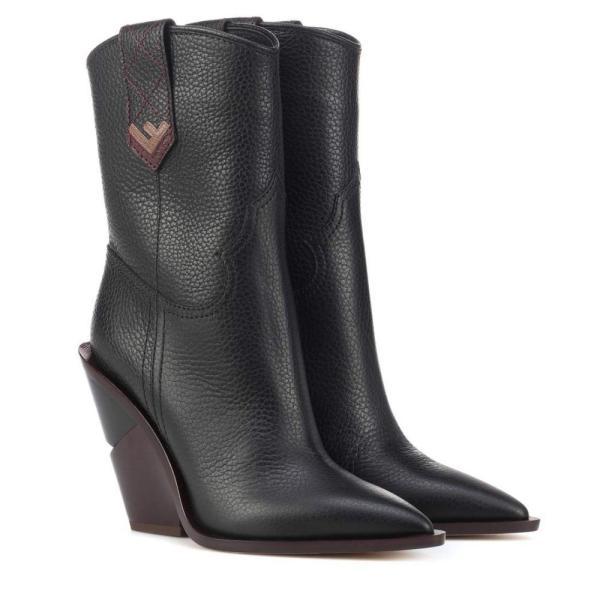フェンディ Fendi レディース ブーツ シューズ・靴 Leather cowboy boots Nero