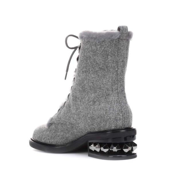 ニコラス カークウッド Nicholas Kirkwood レディース ブーツ シューズ・靴 Suzi shearling-lined ankle boots Grey