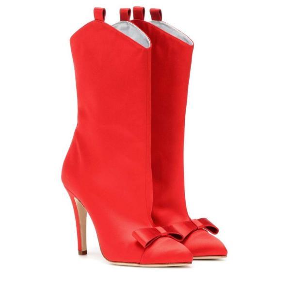 アレッサンドラリッチ Alessandra Rich レディース ブーツ シューズ・靴 Satin ankle boots Red