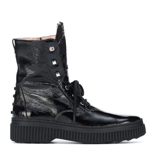 トッズ Tod's レディース ブーツ シューズ・靴 Patent leather ankle boots Nero