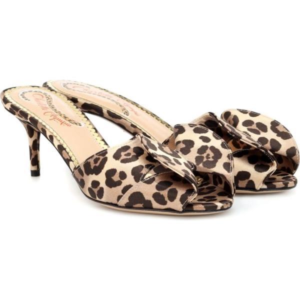 シャーロット オリンピア Charlotte Olympia レディース サンダル・ミュール シューズ・靴 Satin leopard-printed mules leopard