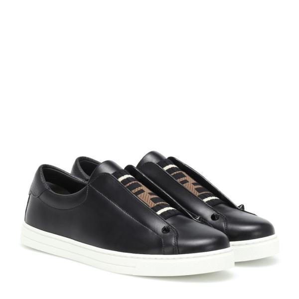 フェンディ Fendi レディース スリッポン・フラット シューズ・靴 Leather sneakers Ner Ner Tab Nero