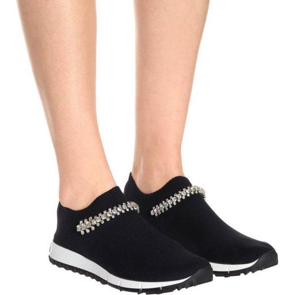 ジミー チュウ Jimmy Choo レディース スリッポン・フラット シューズ・靴 Verona knit sneakers black crystal