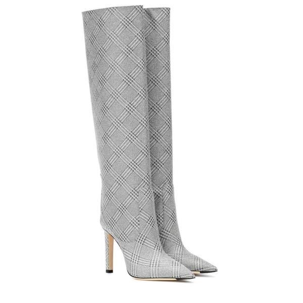 ジミー チュウ Jimmy Choo レディース ブーツ シューズ・靴 Mavis 100 glitter knee-high boots Silver