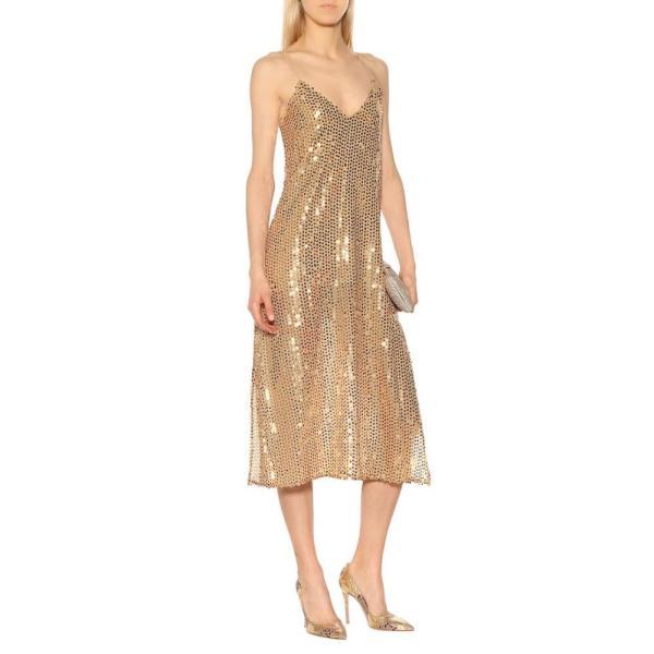 キャロライン コンスタス Caroline Constas レディース パーティードレス ワンピース・ドレス Sequined midi dress gold