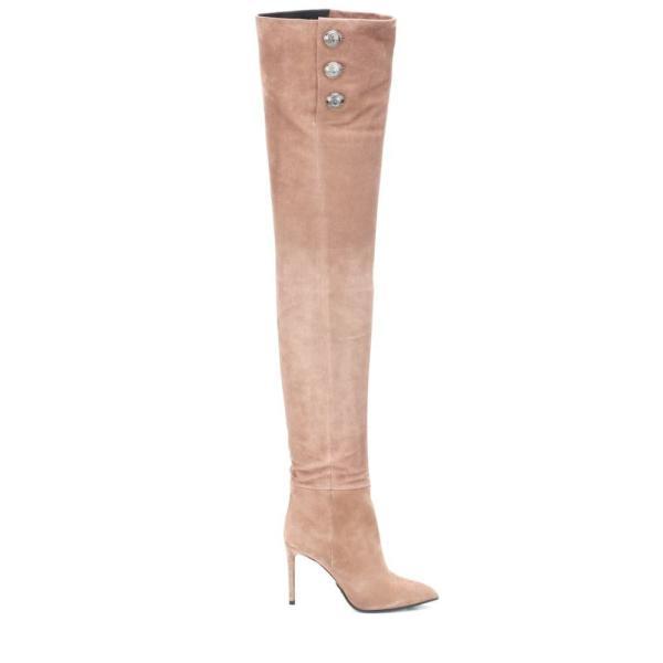 バルマン Balmain レディース ブーツ シューズ・靴 Suede over-the-knee boots Beige