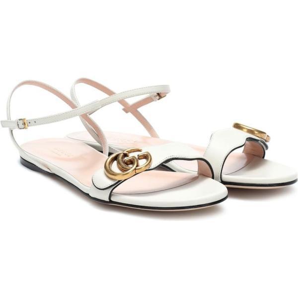 a0d303e19f78 レディース サンダルミュール シューズ靴 Double G leather sandals Mystic White ¥143,800