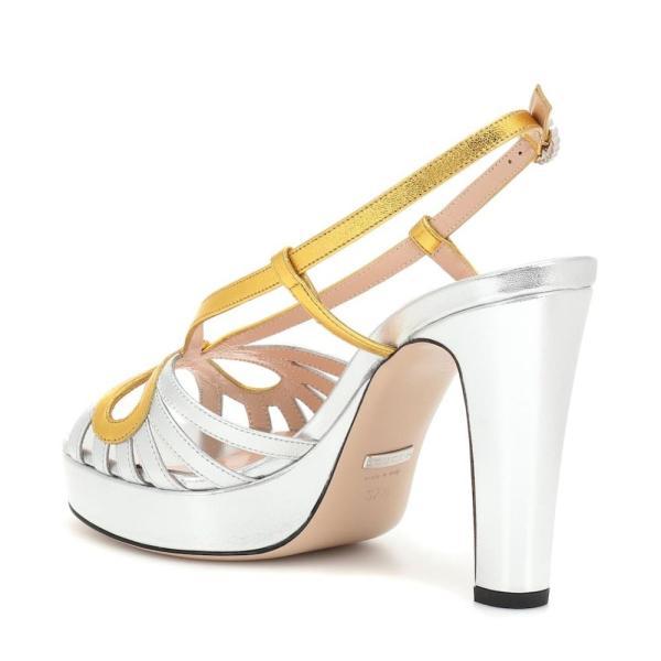 グッチ Gucci レディース サンダル・ミュール シューズ・靴 Metallic leather plateau sandals Argento Oro Vecchio