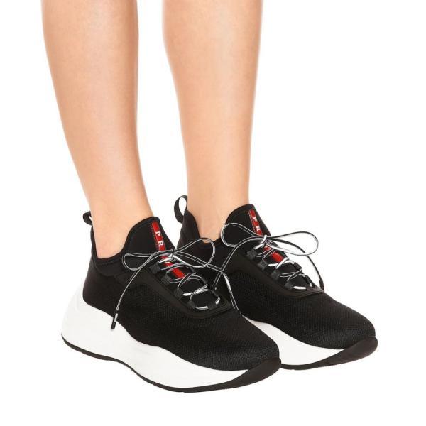 プラダ Prada レディース スニーカー シューズ・靴 Mesh and neoprene sneakers black