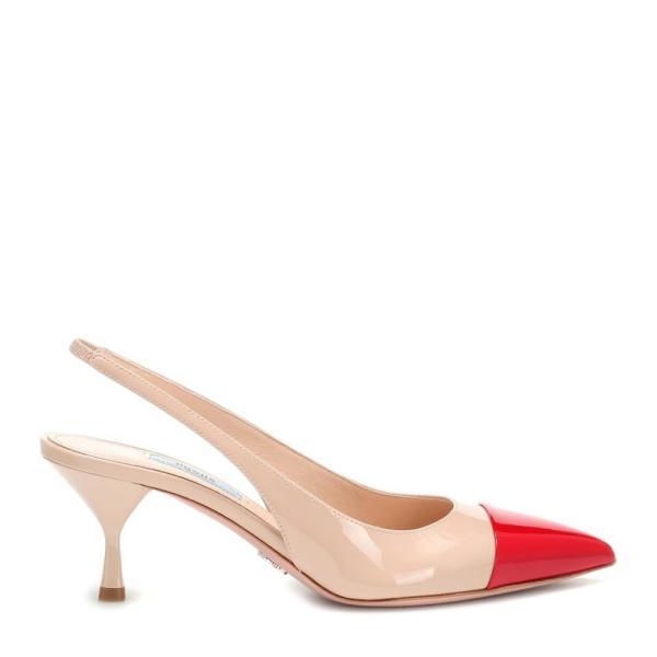 プラダ Prada レディース パンプス シューズ・靴 Patent leather slingback pumps beige / red