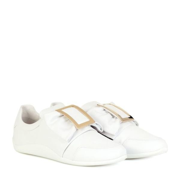 ロジェ ヴィヴィエ Roger Vivier レディース スリッポン・フラット シューズ・靴 Sporty Viv' Bow leather sneakers Bianco
