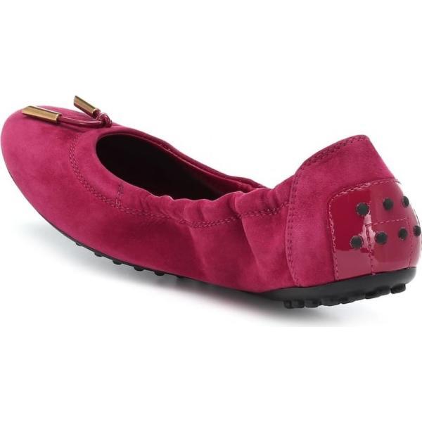 トッズ Tod's レディース スリッポン・フラット シューズ・靴 Suede ballet flats rosso cabaret