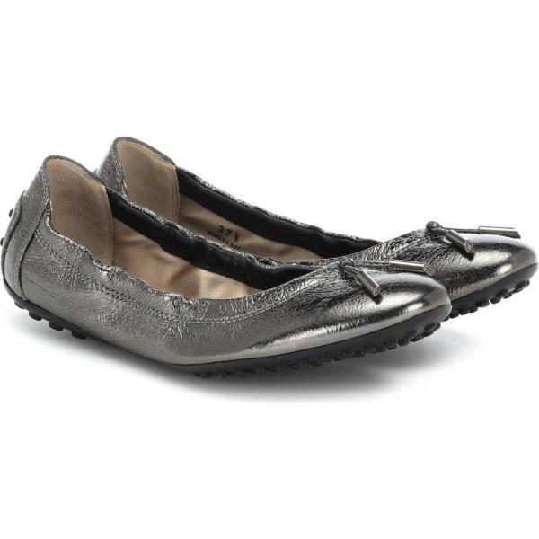 トッズ Tod's レディース スリッポン・フラット シューズ・靴 Metallic leather ballet flats piombo