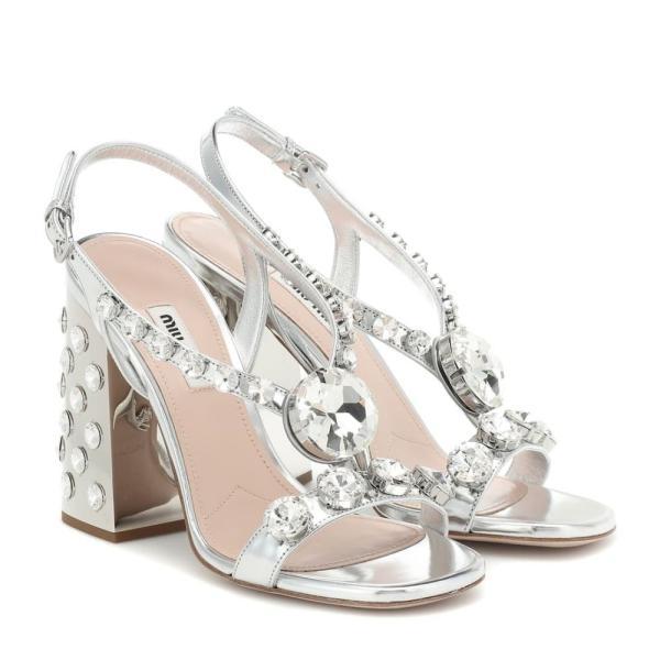 ミュウミュウ Miu Miu レディース サンダル・ミュール シューズ・靴 Embellished metallic leather sandals Argento
