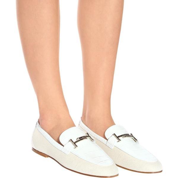 トッズ Tod's レディース ローファー・オックスフォード シューズ・靴 Double T canvas and leather loafers Bianco + Marmor