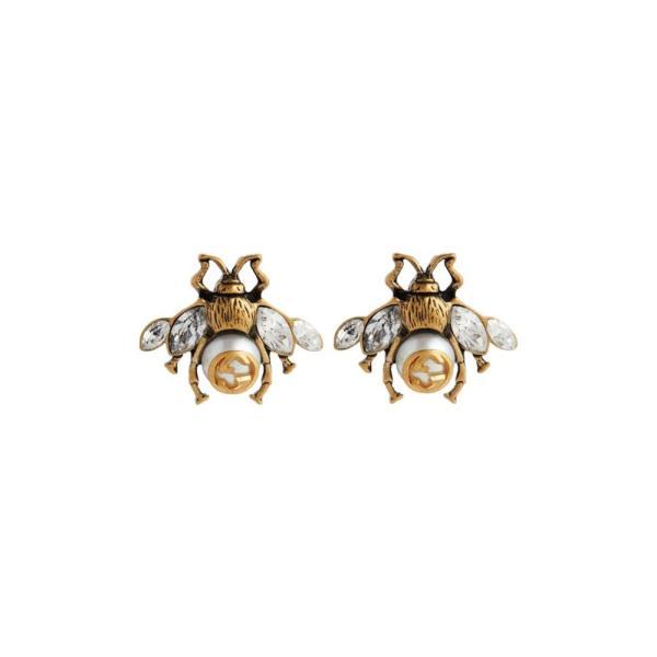 グッチ Gucci レディース イヤリング・ピアス ジュエリー・アクセサリー Bee crystal-embellished earrings