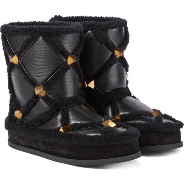 ヴァレンティノ Valentino Garavani レディース ブーツ スノーブーツ シューズ・靴 Roman Stud shearling-lined snow boots NeroNero/Miele