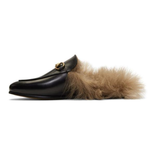 グッチ レディース スリッパ シューズ・靴 Black Fur-Lined Princetown Slippers