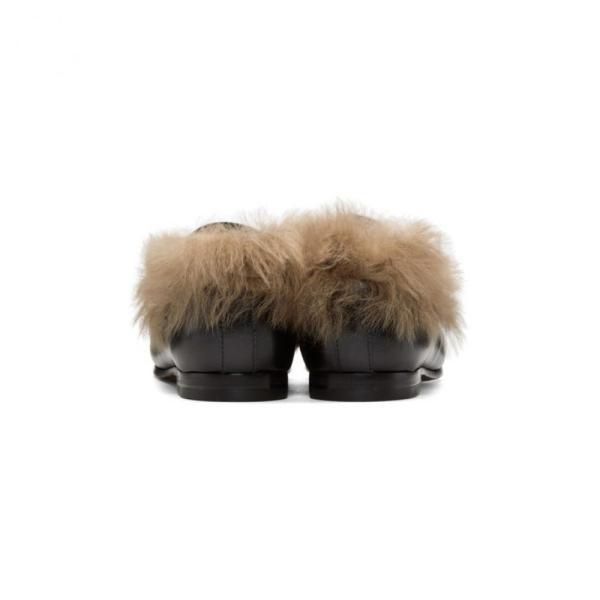 グッチ レディース ローファー・オックスフォード シューズ・靴 Black Wool-Lined Jordaan Loafers