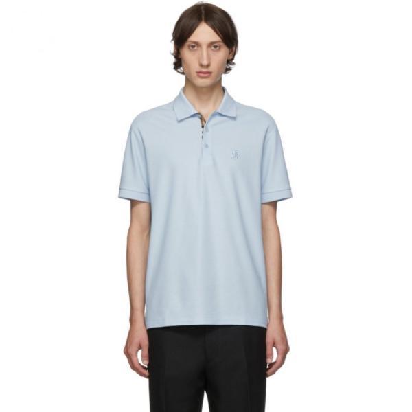 バーバリー Burberry メンズ ポロシャツ トップス Blue Eddie Monogram Polo Pale blue fermart3-store