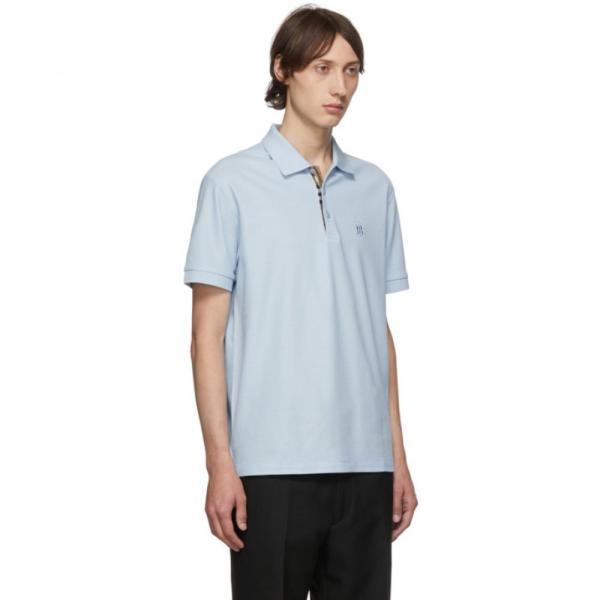 バーバリー Burberry メンズ ポロシャツ トップス Blue Eddie Monogram Polo Pale blue fermart3-store 02