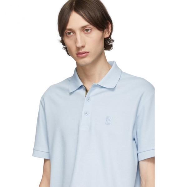 バーバリー Burberry メンズ ポロシャツ トップス Blue Eddie Monogram Polo Pale blue fermart3-store 04