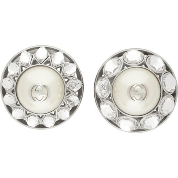 グッチ Gucci レディース イヤリング・ピアス ジュエリー・アクセサリー Silver Crystal & Pearl Interlocking G Earrings Silver
