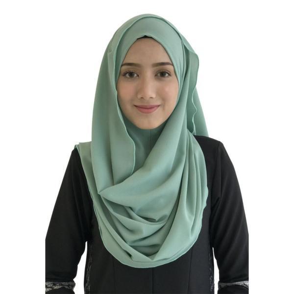 ファロサ Farosa レディース ヒジャブ ムスリムウェア Laisa Plain Semi Instant Shawl (Dusty Green) Dusty Green|fermart3-store
