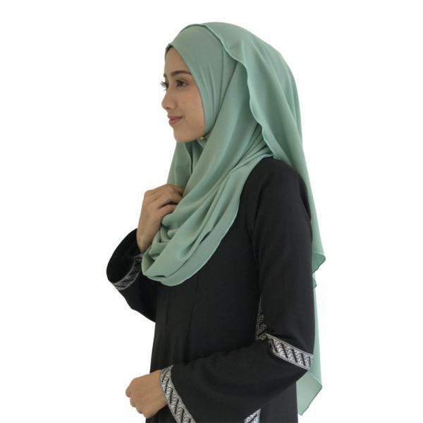 ファロサ Farosa レディース ヒジャブ ムスリムウェア Laisa Plain Semi Instant Shawl (Dusty Green) Dusty Green|fermart3-store|02