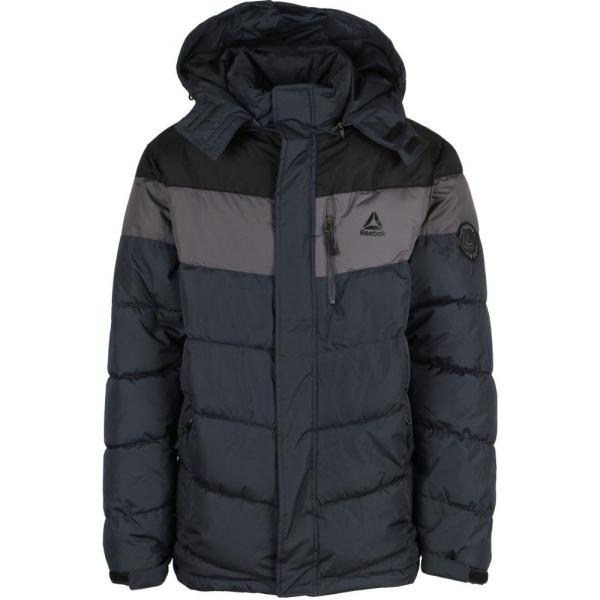 リーボック Reebok メンズ ダウン・中綿ジャケット アウター Slanted Puffer Jacket Black/Medium Grey/Charcoal fermart3-store