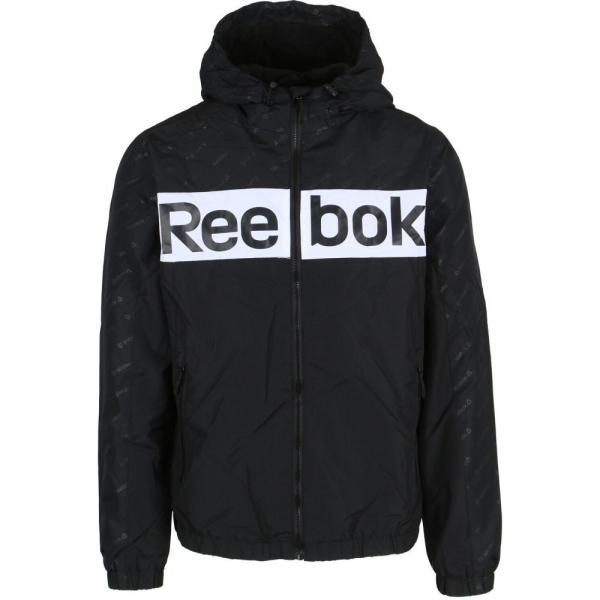 リーボック Reebok メンズ ジャケット ウィンドブレーカー アウター Logo Fleece Lined Windbreaker Jacket Black/White|fermart3-store