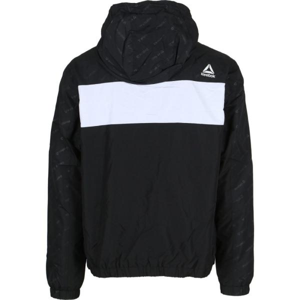 リーボック Reebok メンズ ジャケット ウィンドブレーカー アウター Logo Fleece Lined Windbreaker Jacket Black/White|fermart3-store|02