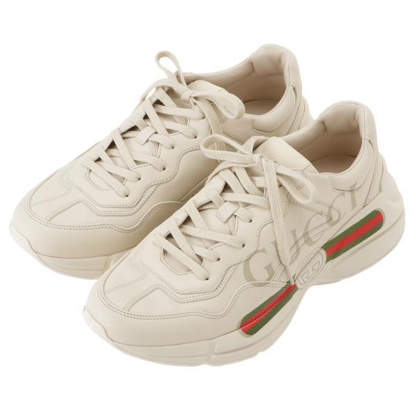 【即納】グッチ Gucci メンズ スニーカー シューズ・靴 Rhyton Leather Sneaker IVORY ロゴ fermart3-store