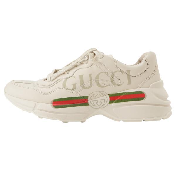 【即納】グッチ Gucci メンズ スニーカー シューズ・靴 Rhyton Leather Sneaker IVORY ロゴ fermart3-store 03