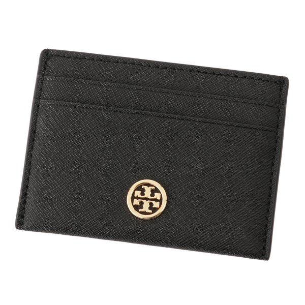 【即納】トリー バーチ Tory Burch レディース カードケース・名刺入れ Robinson Card Case 54886 Perfect Black ロゴ|fermart3-store