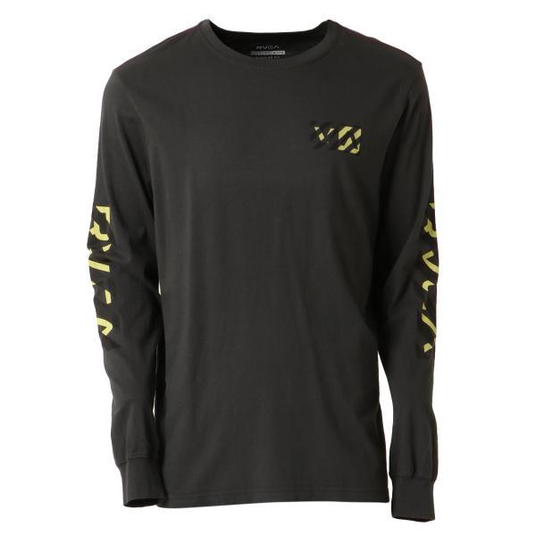 【即納】ルーカ RVCA メンズ 長袖Tシャツ トップス Hazard L/S BLACK ロンT ロングT ロゴ バイアスプリント fermart3-store