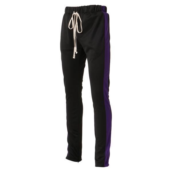 【即納】エピトミ EPTM メンズ スウェット・ジャージ ボトムス・パンツ TRACK PANTS BLACK/PURPLE トラックパンツ 裾ジップ サイドライン|fermart3-store