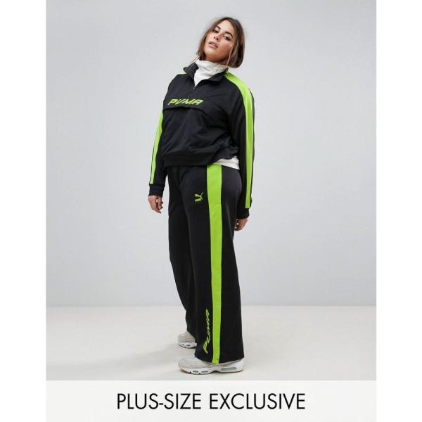 プーマ レディース ボトムス・パンツ Puma Exclusive To ASOS Plus Track Pant In Black And Lime Green Black fermart