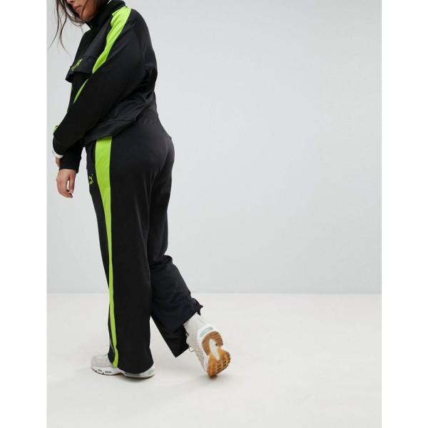 プーマ レディース ボトムス・パンツ Puma Exclusive To ASOS Plus Track Pant In Black And Lime Green Black fermart 02