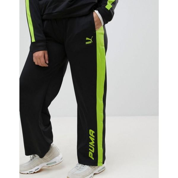 プーマ レディース ボトムス・パンツ Puma Exclusive To ASOS Plus Track Pant In Black And Lime Green Black fermart 03