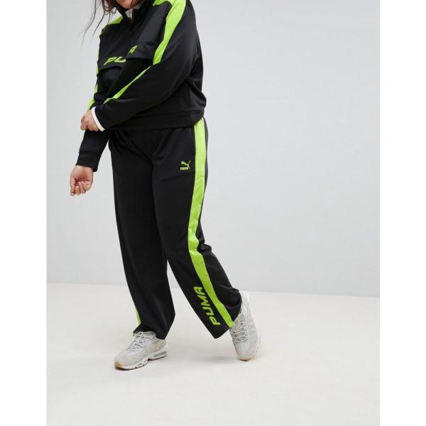 プーマ レディース ボトムス・パンツ Puma Exclusive To ASOS Plus Track Pant In Black And Lime Green Black fermart 04