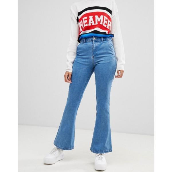 コーラス Chorus レディース ジーンズ・デニム ボトムス・パンツ Flared Jeans with Star Foil Back Pockets Med blue|fermart